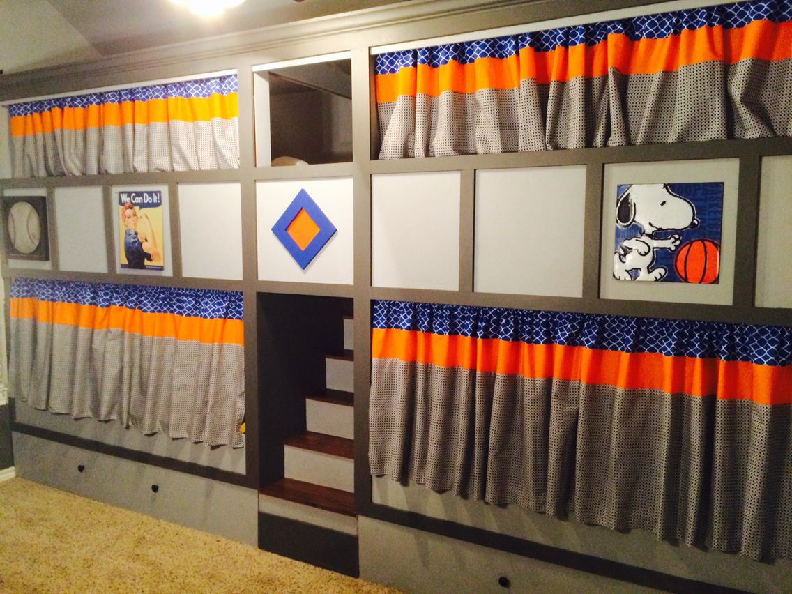 Bunk bed curtains - Quad Bunk Beds With Privacy Curtains And Stained Stairs Made With Mdf And 2x4 Framing