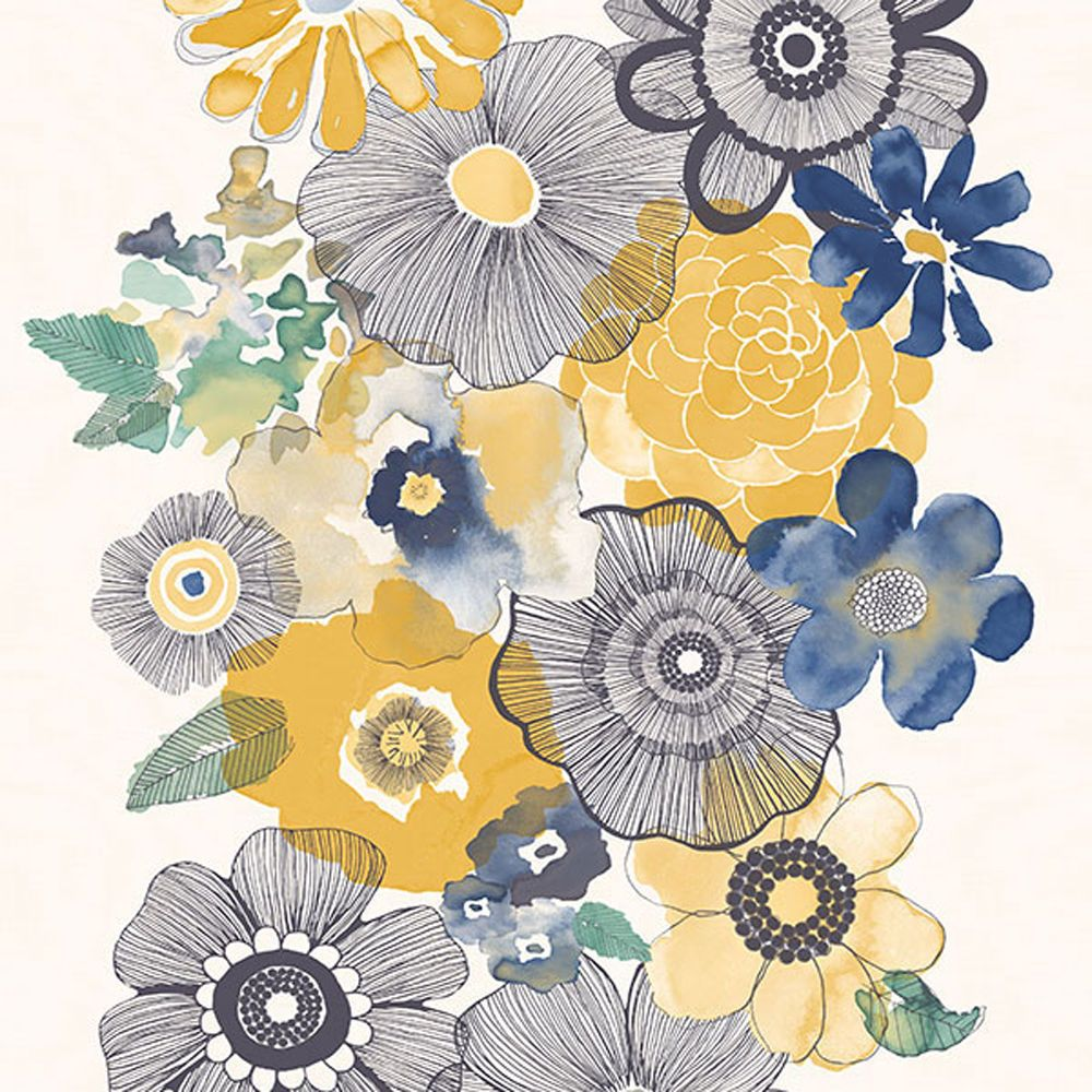 Vp2002 Boho Chic Floral Blue Yellow Galerie Wallpaper Galerie
