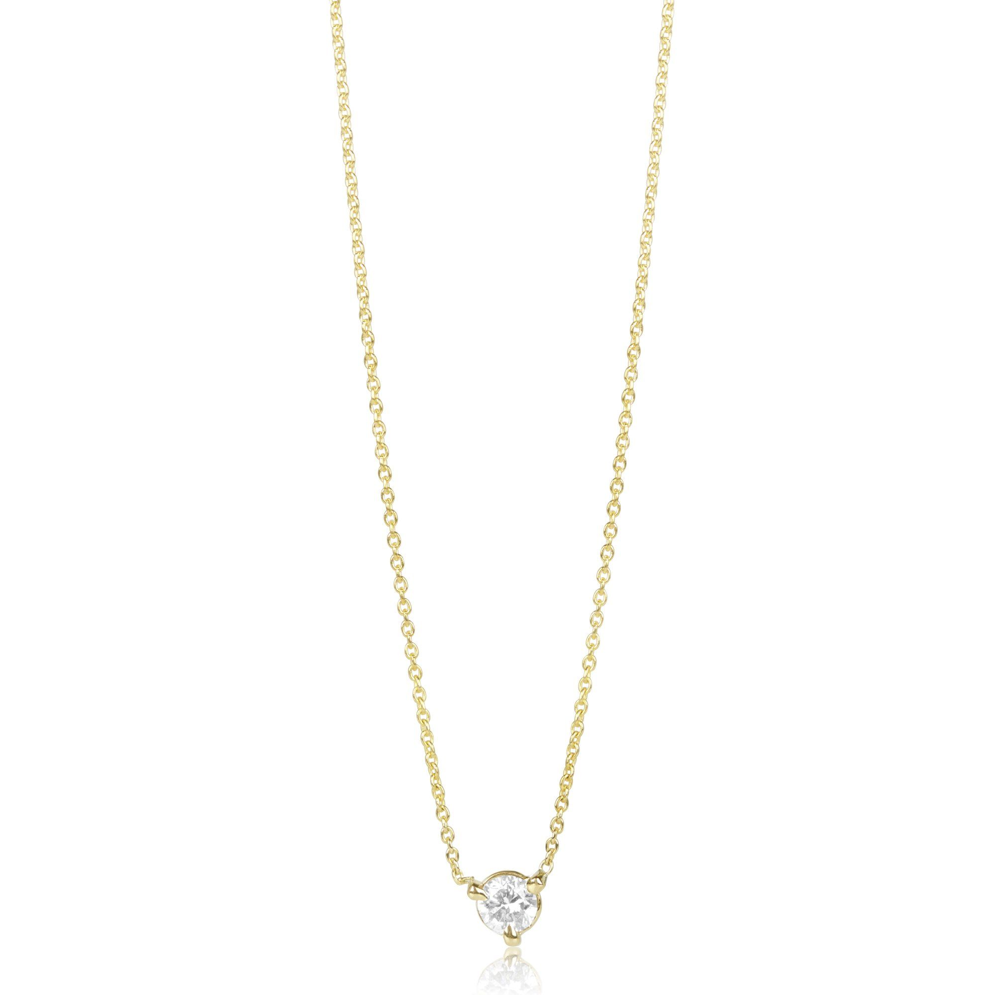 Medium prong set round diamond necklace in my style