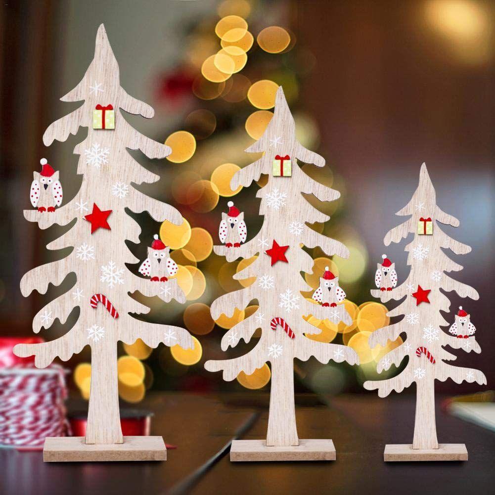 Lannmart Christmas Wooden Creative Desktop Small Christmas Tree Christmas Tree Decorations Uk Small Christmas Trees Decorated Christmas Snowflakes Decorations