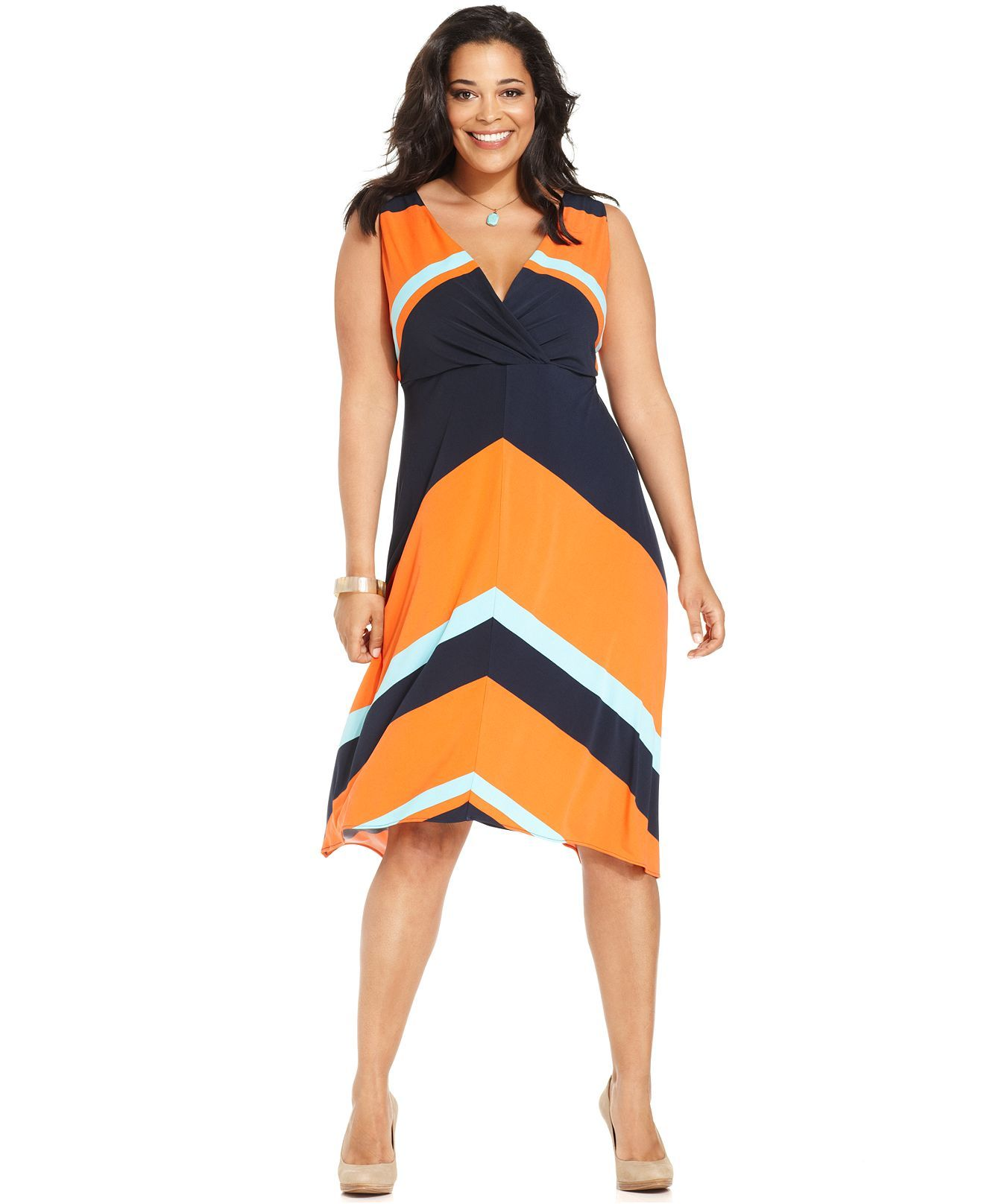 Alfani Plus Size Dress, Sleeveless Striped - Plus Size ...