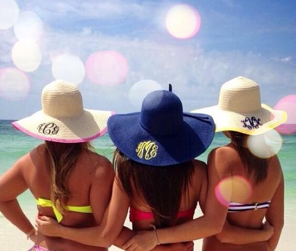 Monogrammed Beach Hats  ee18c041d4a