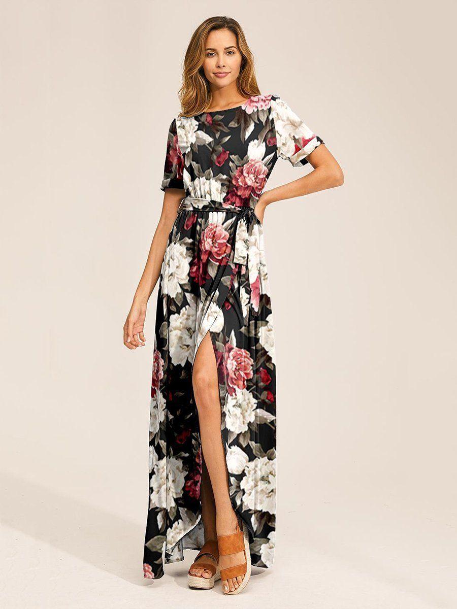 Blumen Gedruckt Seitliche Öffnung Kurzarm Maxi Kleid Rot ...