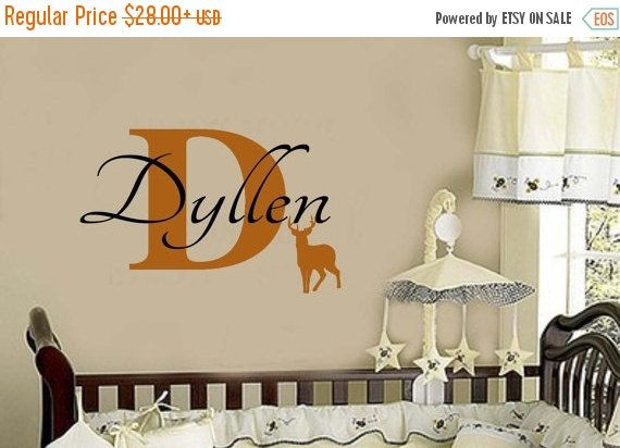 SALE DEER Personalized Custom Vinyl Wall Decal Boys Name With - Custom vinyl wall decals deer