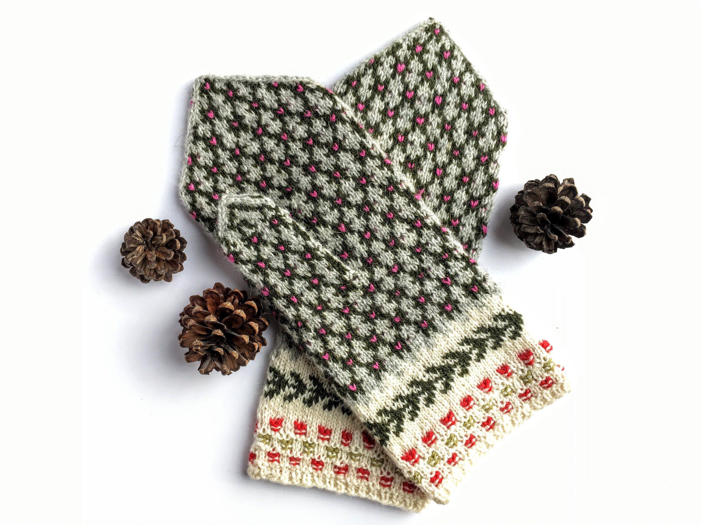 Laine tricotée à la main mitaines, mitaines nordiques, mitaines Lettons, norvégiens mitaines ...