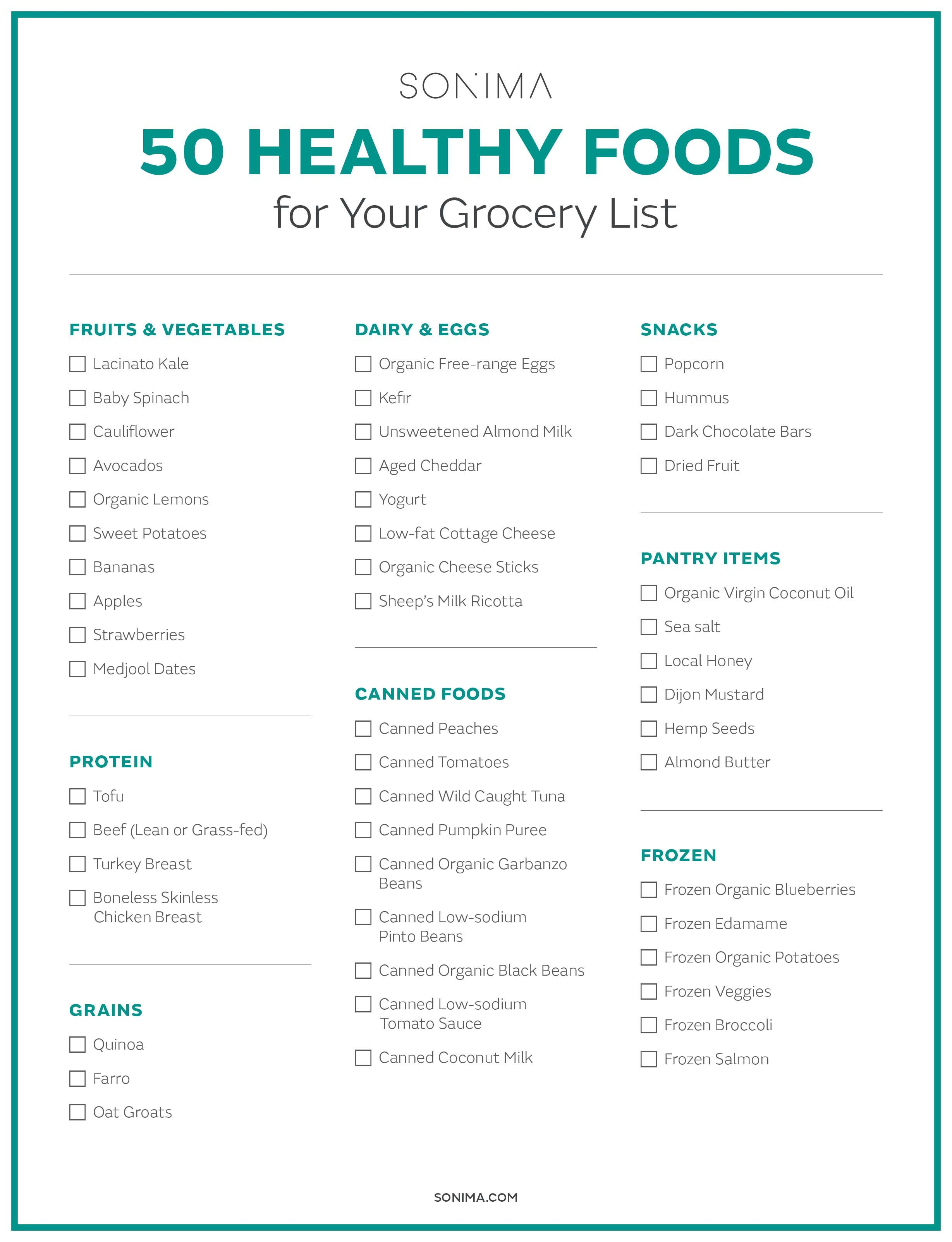 50 Healthy Foods To Add To Your Grocery List