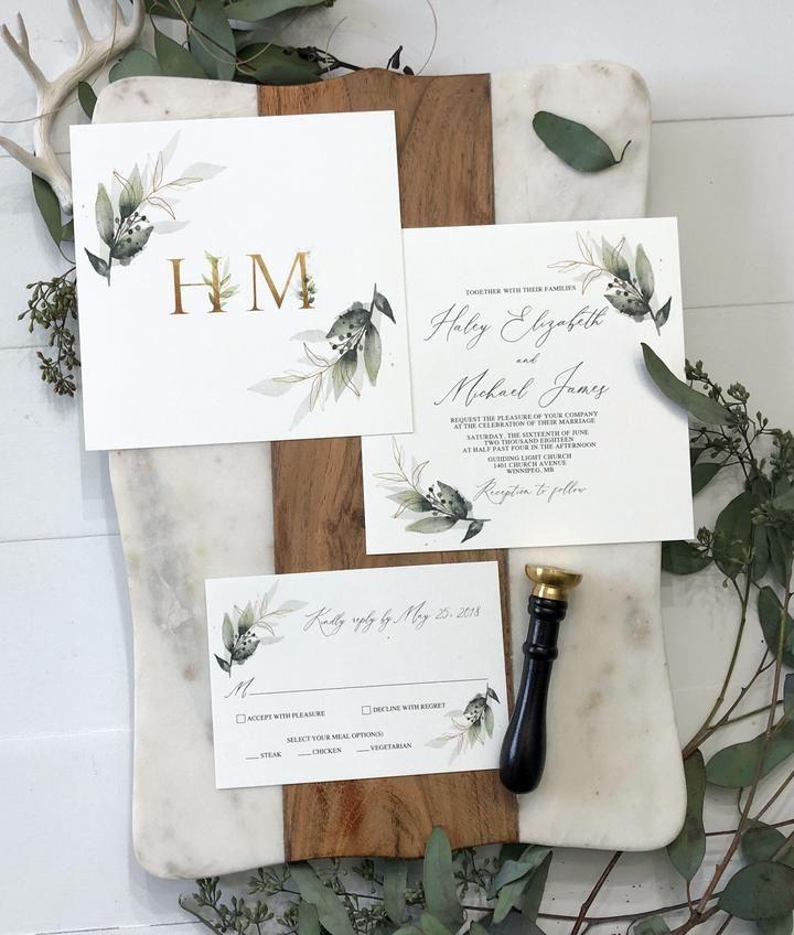 Greenery Botanical Garden Wedding Invitation In 2019