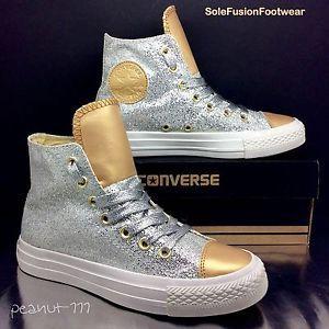 6a441d447a61 Converse-womens-All-Star-Glitter-Trainers-Silver-Gold-sz -4-5-Girls-Hi-Top-EU-37