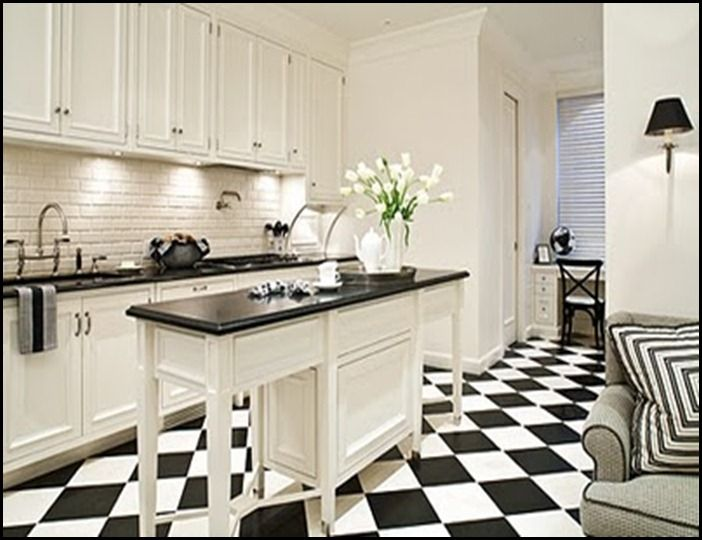 This Floor Is Actually Stained With Black Stain To Make The Diamond Pattern In The Floor White Kitchen Decor White Kitchen Traditional White Tile Kitchen Floor