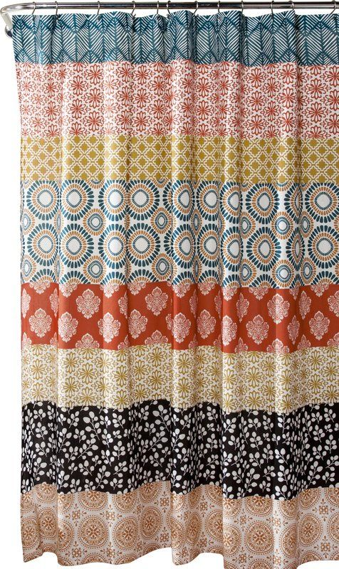 Refresh Your Master Bath Or Powder Room With This Boho Chic Shower Curtain Showcasing Eclectic Striping