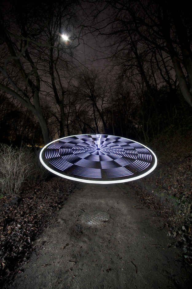 "This image is titled ""UFO by moonlight""."