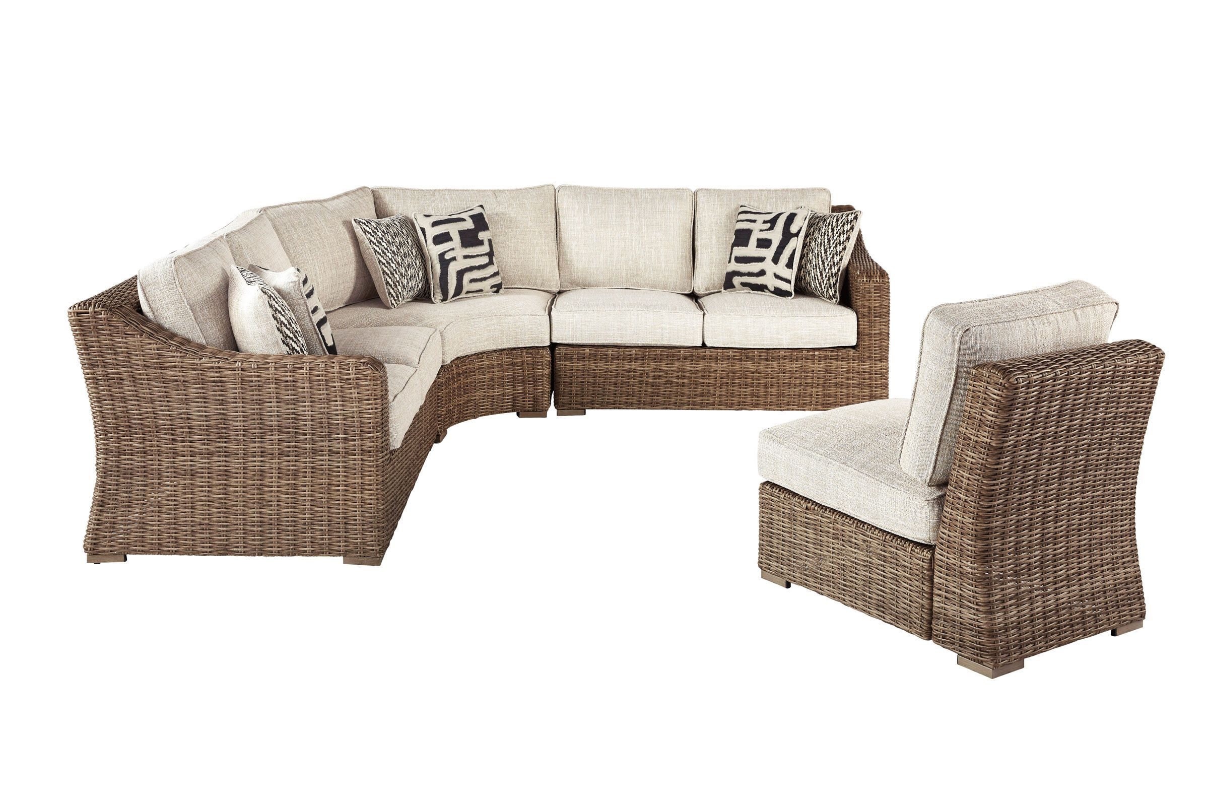Beachcroft 4 Piece Outdoor Sectional By Ashley At Gardner White In 2021 Outdoor Seating Set White Patio Furniture Outdoor Furniture Sets