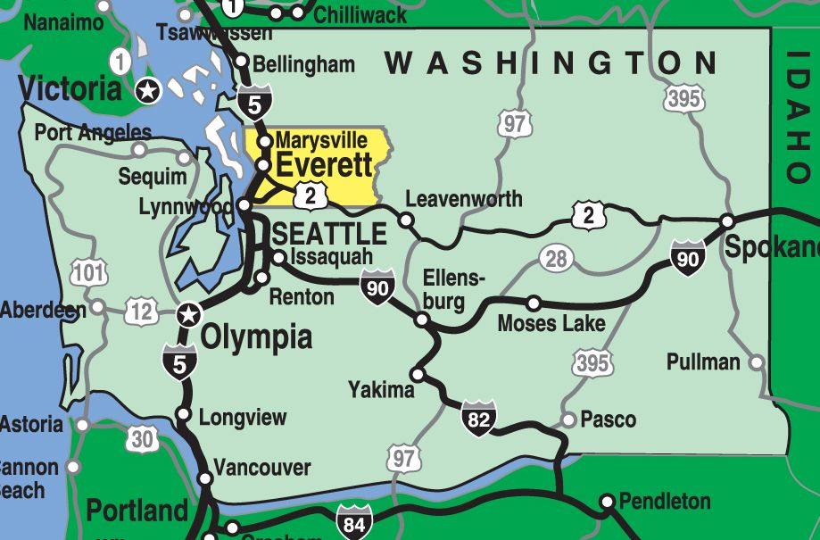 Map of Washington State with highlighted Snohomish County ...