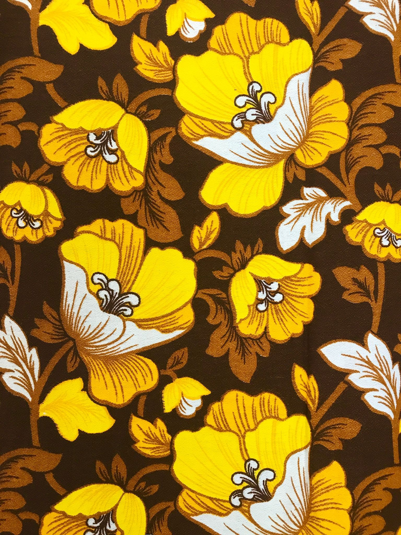 Vintage table runner with a brown and yellow design from Sweden