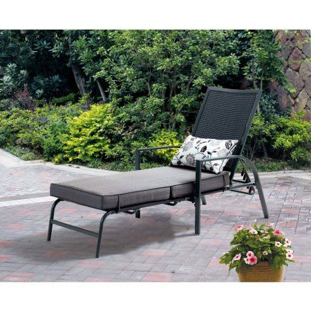 Mainstays Alexandra Square Chaise Lounge Gray With Leaf Design