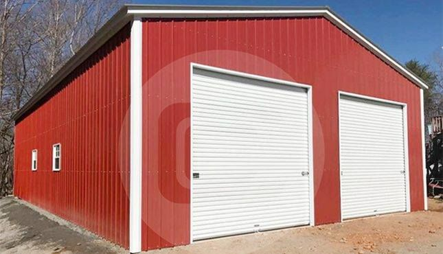 Pictured Is A 30 X 40 X 12 All Vertical Roof Garage It Has 2 10 X 10 Metal Roll Up Doors On The 30 End Metal Farm Buildings Farm Buildings Roll Up Doors