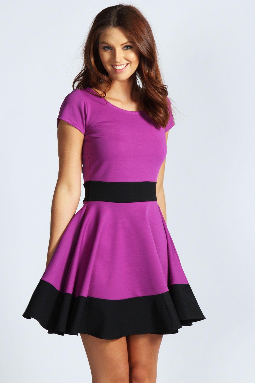 Claire color block skater dress
