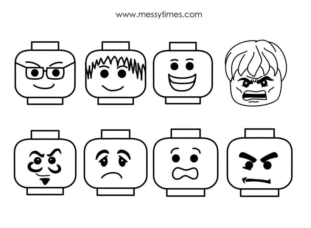 A collection of lego faces all in various formats – black/white ...