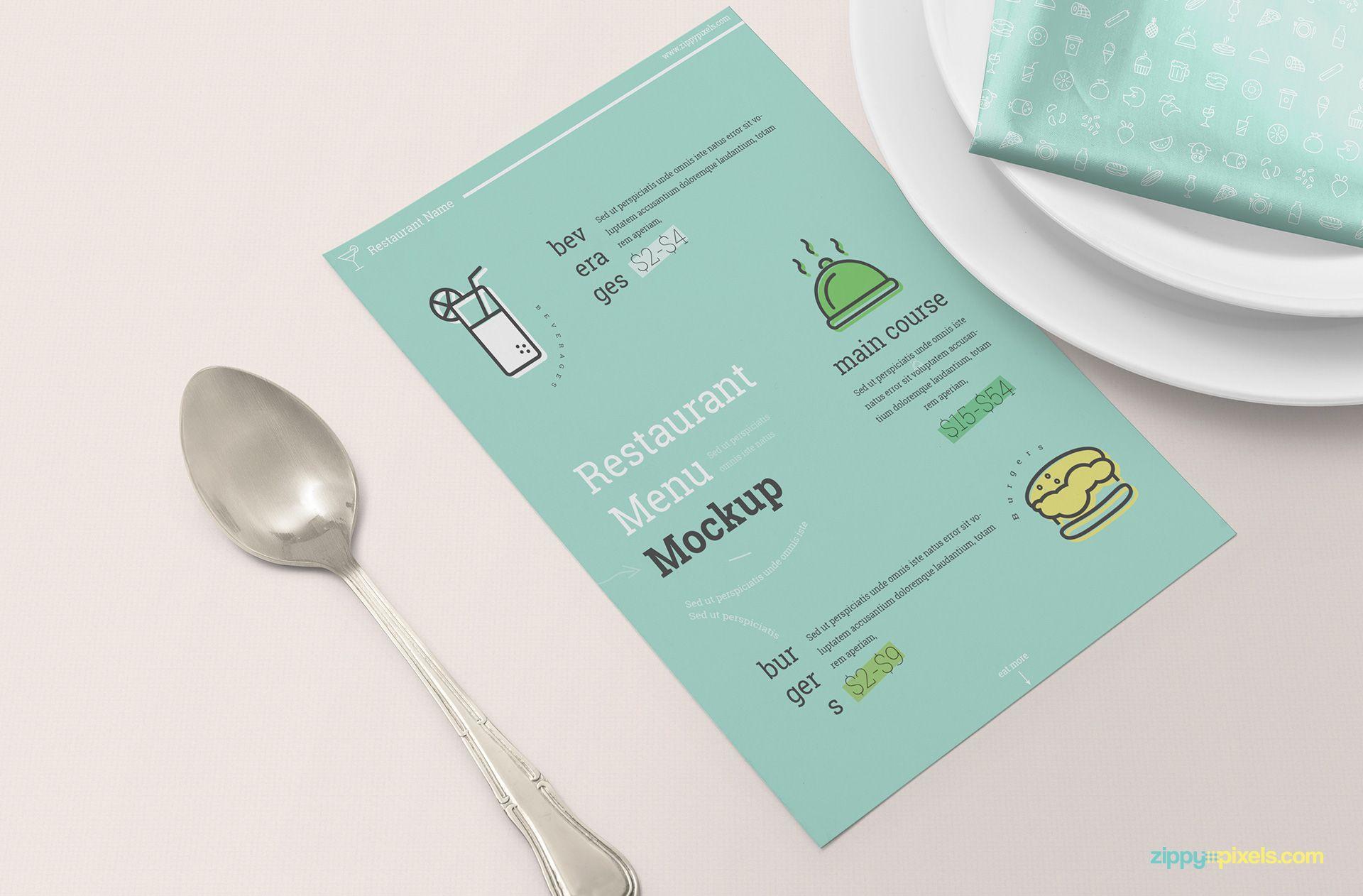 Free Restaurant Menu Card Mockup Restaurant Menu Card Menu