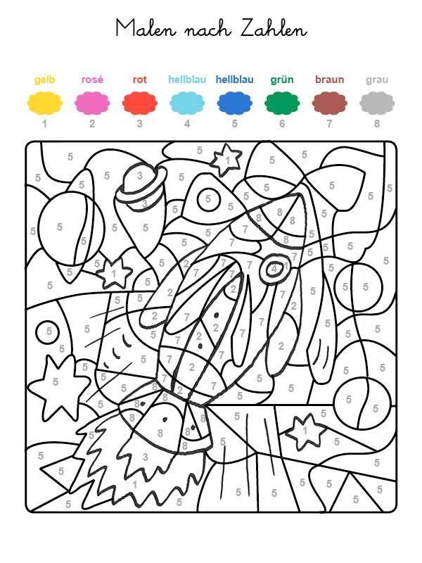 Coloring by numbers: print the rocket for free, #Coloring ...