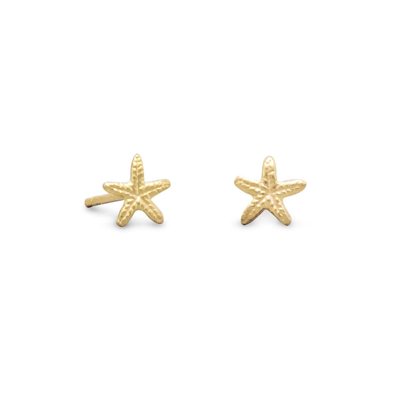 plated earrings pin products stud gold starfish