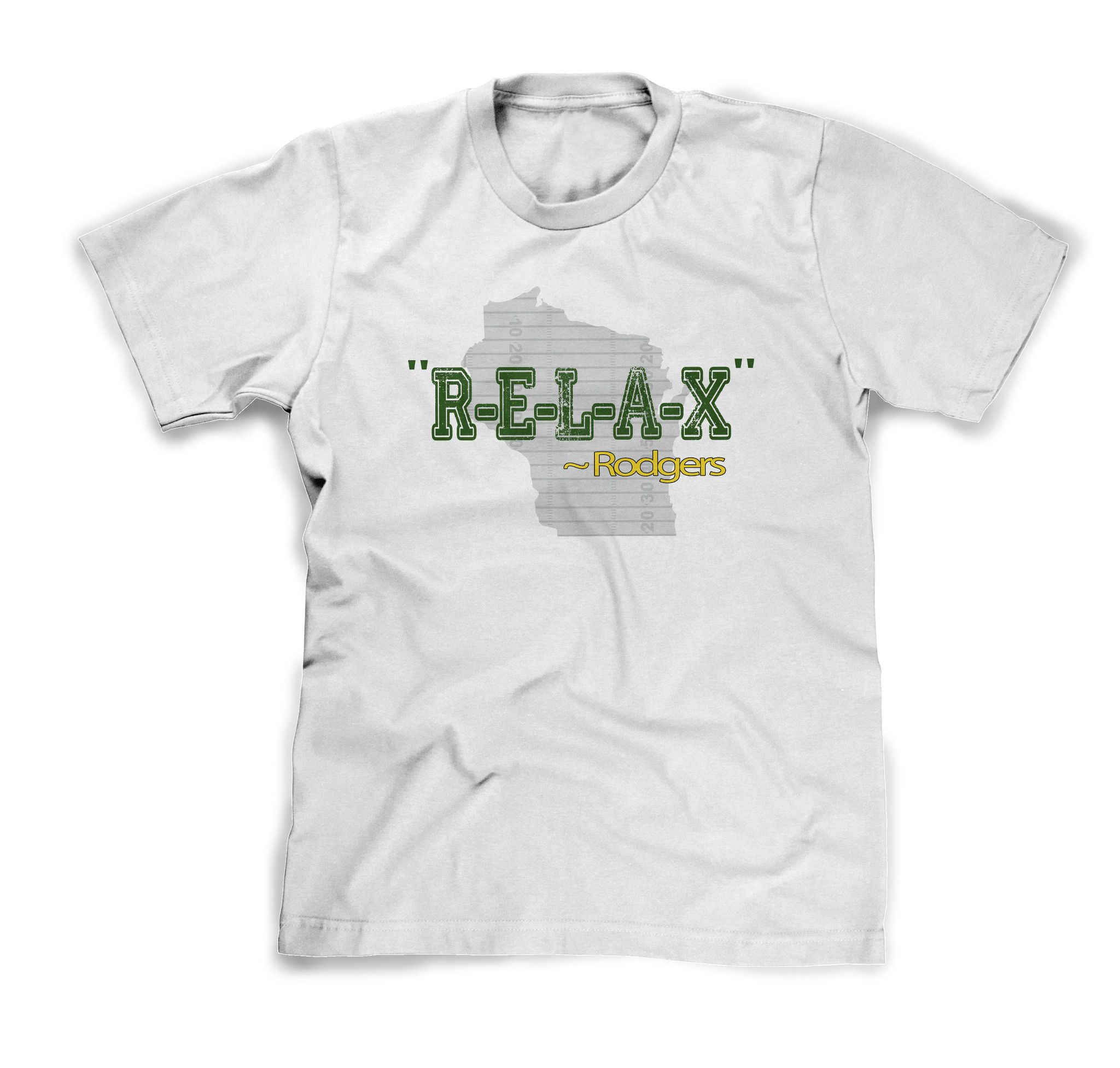 Relax Aaron Rodgers Tee In Yellow Or White Green Bay Packers Fan Shirt On Sale Now At Shirtsandwich Com With Images Native American T Shirts Novelty Shirts Fan Shirts