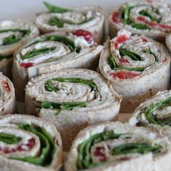 pinwheel snacks - mayo, lettuce, cheese, tortilla, lunch meat!