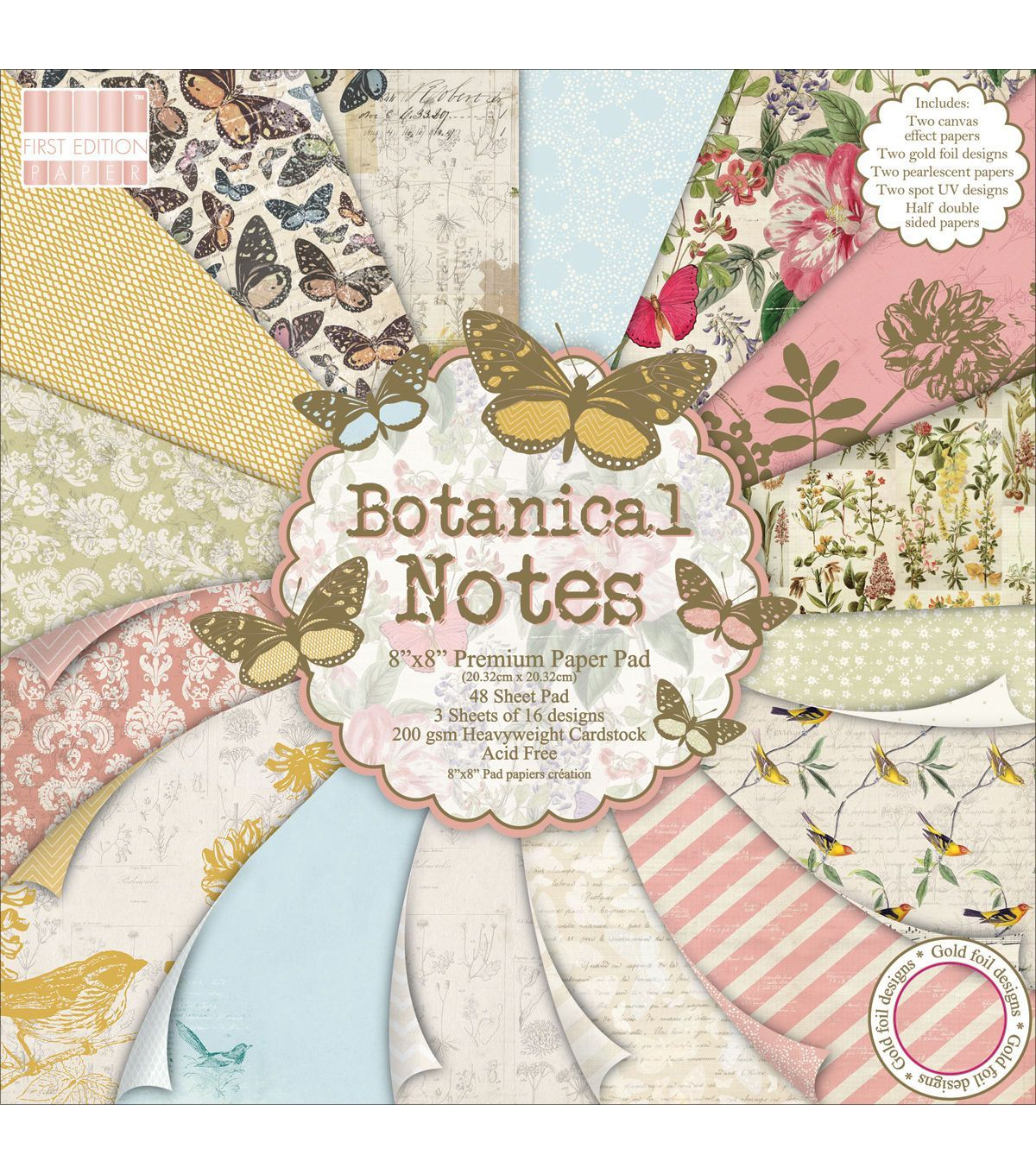 First Edition Botanical Notes 6x 6 Papers Sample 16 x 6x6 designer Paper Packs