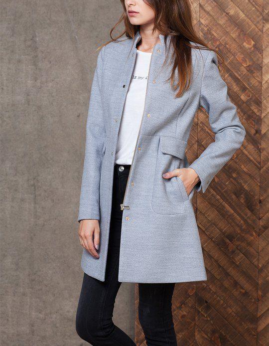 Woollen cloth coat - CLOTHING - WOMAN   Stradivarius Turkey   Kadın ... 86e8211f23