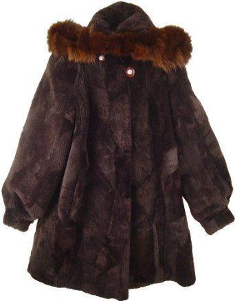 2023 Women's Size 18 or 14W Multi Color New Real Australian Shearing Sheared Sheep Fur Classic 3/4 Parka Half Coat Button Off Hood Fox Trim Hook Clasp Closure Polyester Lining Inside Pocket Slash Pocket $411.00