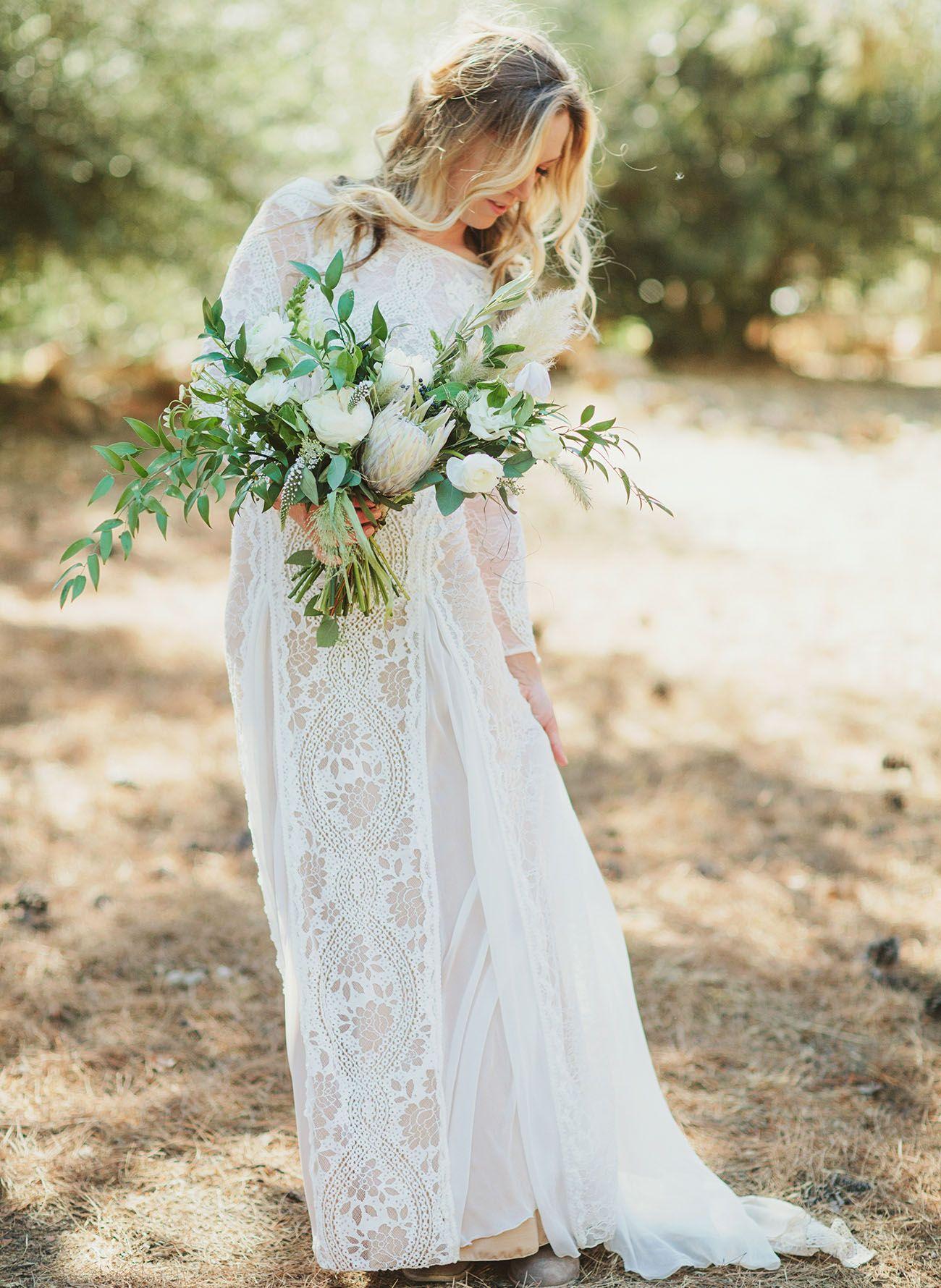 This boho chic wedding revolved around mud cloth robes wedding