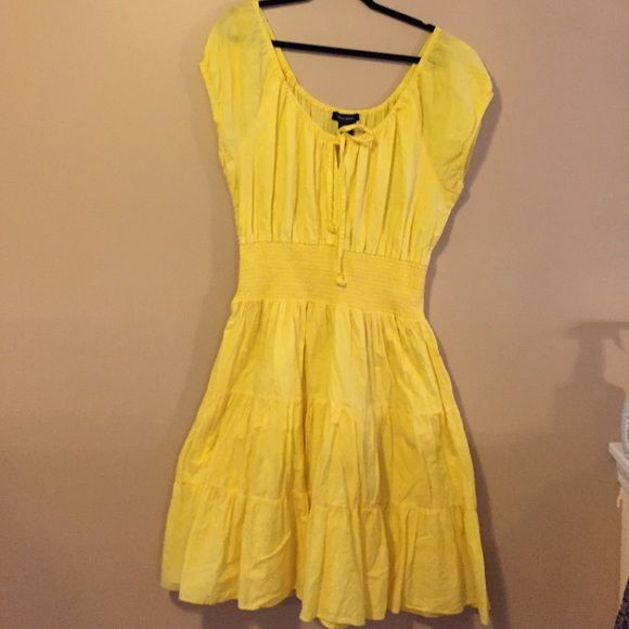 Canary yellow summer dress!! Canary yellow Ashley Stewart summer dress. Very flattering has a linen lining and flows nicely off waist. Ashley Stewart Dresses Asymmetrical