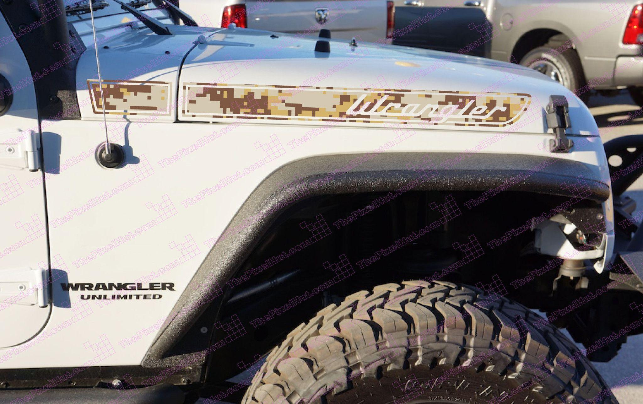 Jeep Wrangler Desert Tan Camo Retro Hood Decals For Wrangler Jk