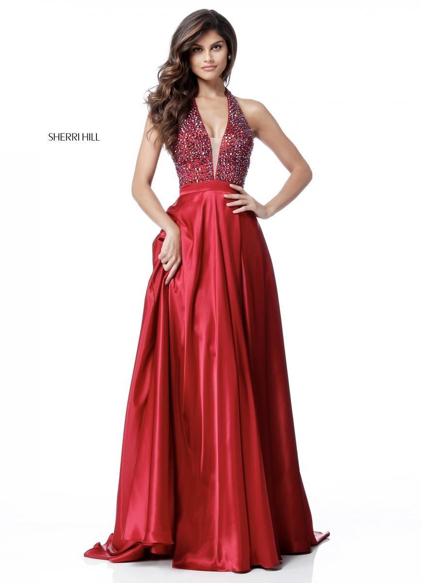 2018 Deep V Neck Beaded Bodice Sherri Hill 51636 Ruby Long Satin Prom  Dresses