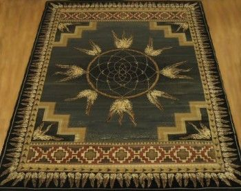 Delectably Yours Dreamcatcher Green Southwestern Style Area Rug In 4 Sizes And A
