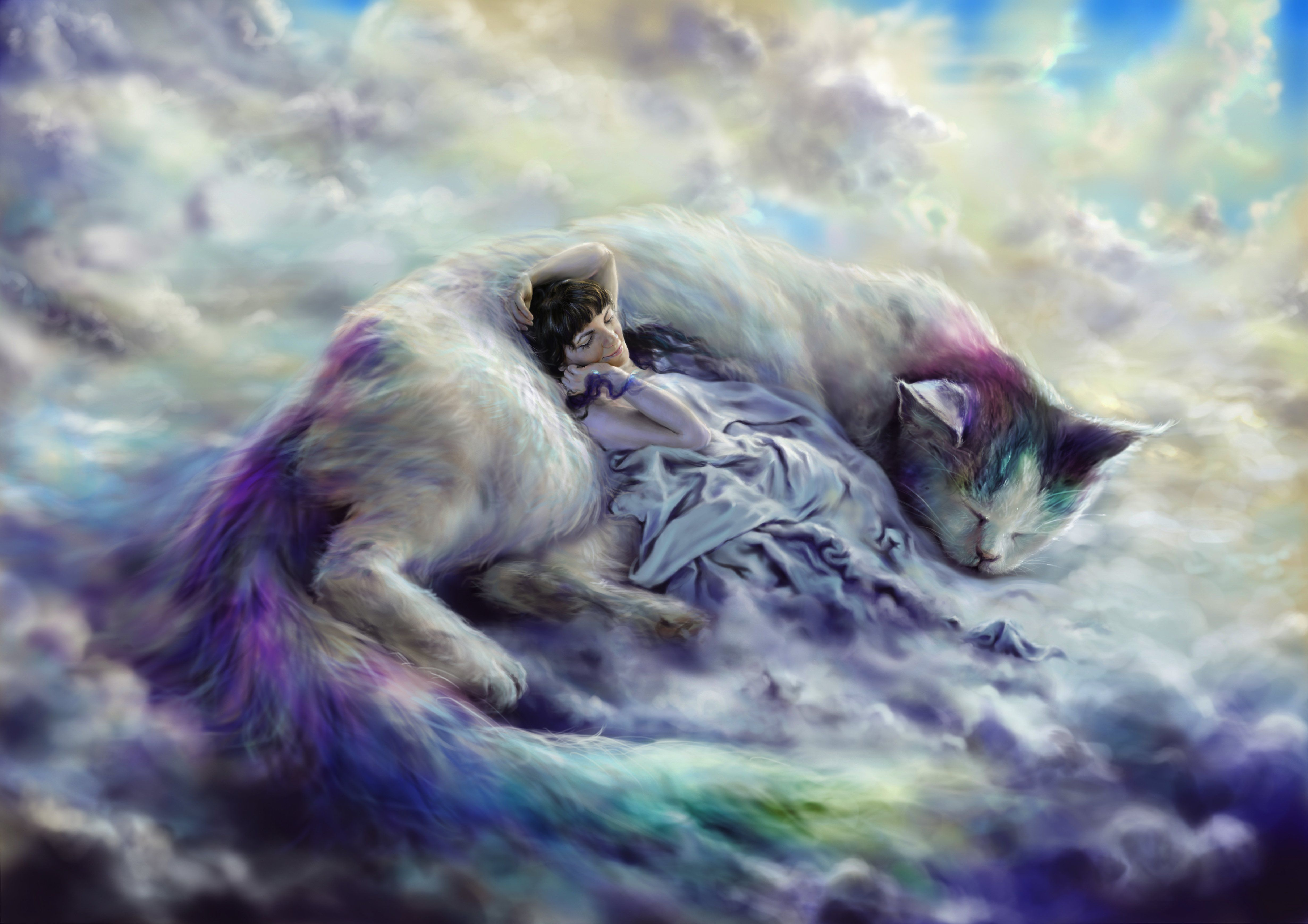 Magical Animals Cats Clouds Sleep Fantasy Mood Magical
