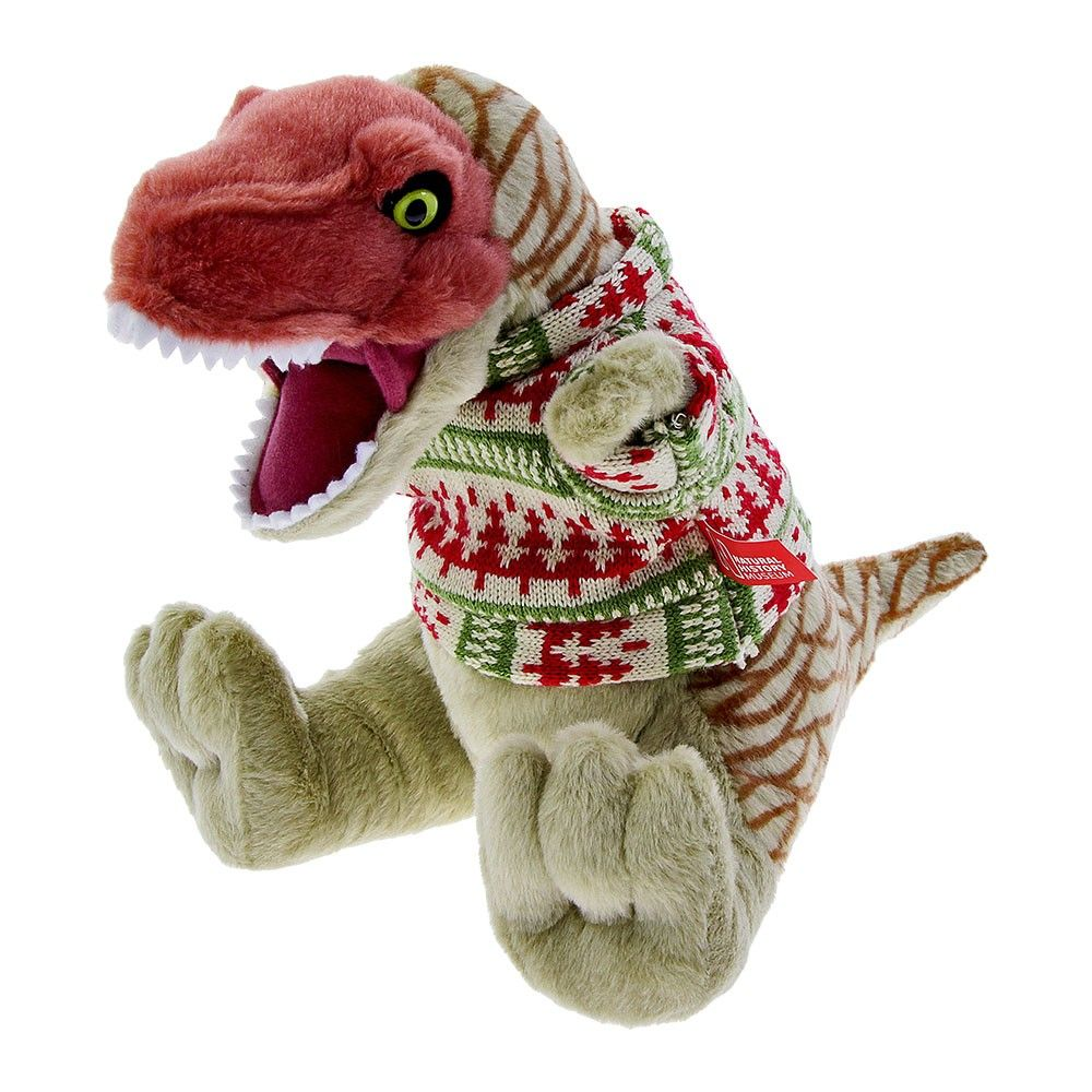 T. rex soft toy in Christmas jumper Dinosaur christmas