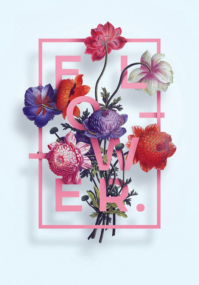 40 floral typography designs that combine flowers text design
