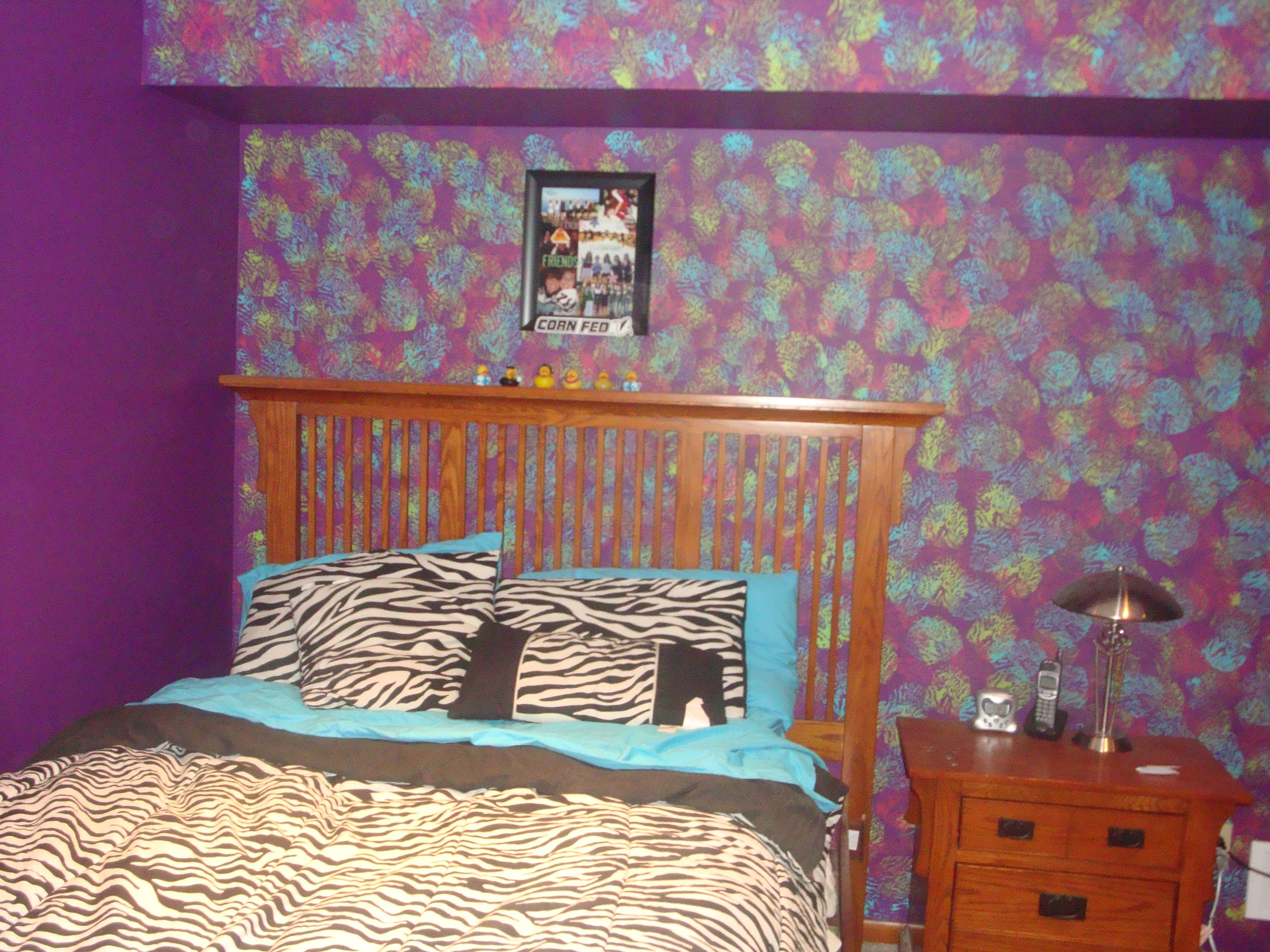 This Is My Legit Bedroom I Painted The Wall Purple First And Then Sponge Painted It Blue Green
