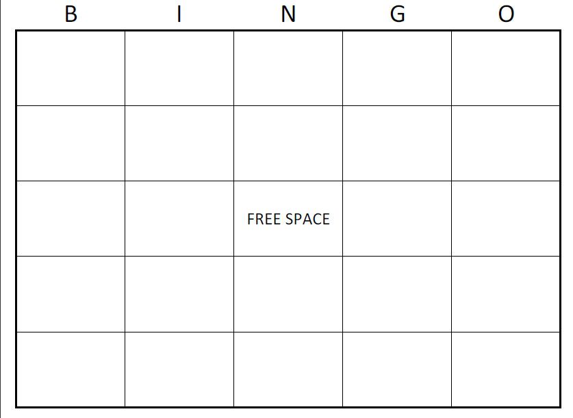 Free Bingo Card Template Large Printable Blank Bingo Cards