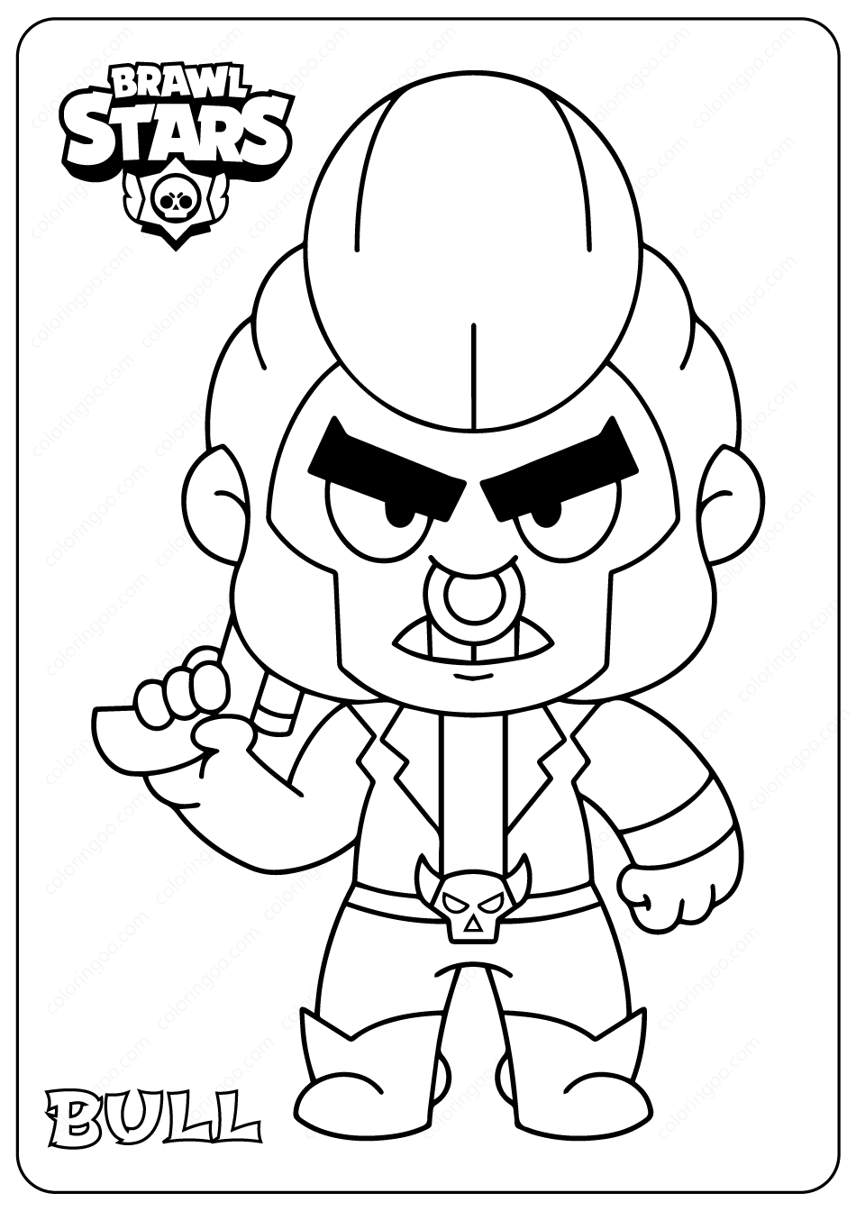 Printable Brawl Stars (Bull) PDF Coloring Pages in 2020