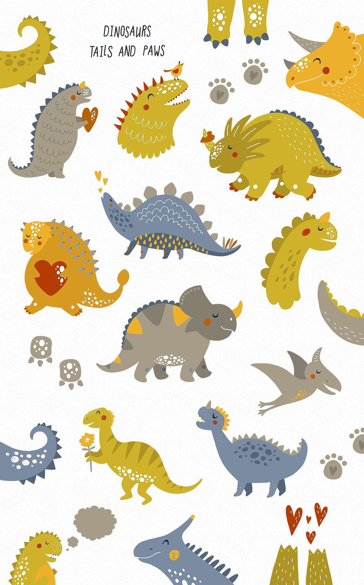 Cute Dinosaurs Hello Dino S Izobrazheniyami Detskie Printy