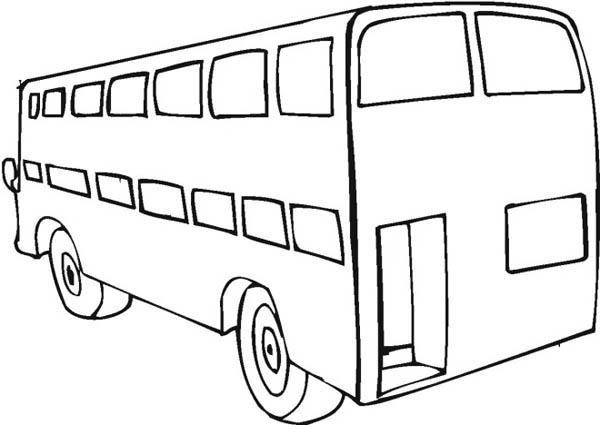 A Big Double Decker School Bus From Behind Coloring Page Kids Play Color School Bus Coloring Pages School