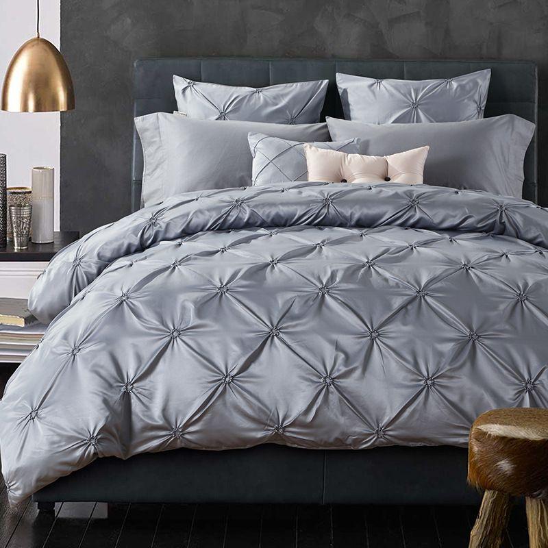 Luxurious Silk Bedding Set European Ruffle Bed Linen Sets King Queen Size  Bedspread Gray Duvet Cover Wedding Bed Set