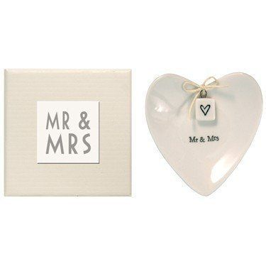 East of India 'Mr & Mrs' Large White Porcelain Heart Ring Dish Gift - Wedding Gift by East of India, http://www.amazon.co.uk/dp/B004JPZGLA/ref=cm_sw_r_pi_dp_kaBnsb0FTN14D