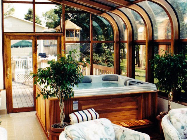 Four Seasons Sunrooms Of Northwest Indiana Spa Enclosure Hot Tub Room Indoor Hot Tub Spa Rooms