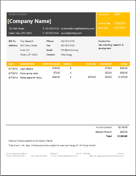 Ms Excel Service Invoice Template Invoice Template Invoicing Invoice Format
