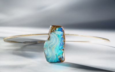 Australian Boulder opal pendant with stainless steel and 24K yellow gold plated 5-strand coil #igorman