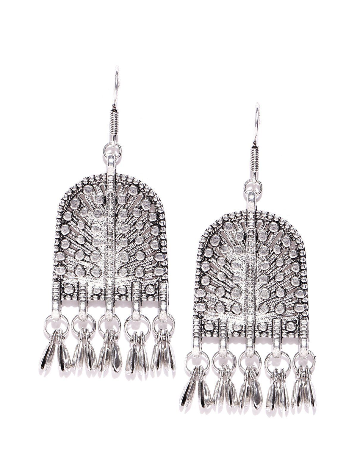 Zaveri pearls antique silver tone dangle earring zaveri pearls