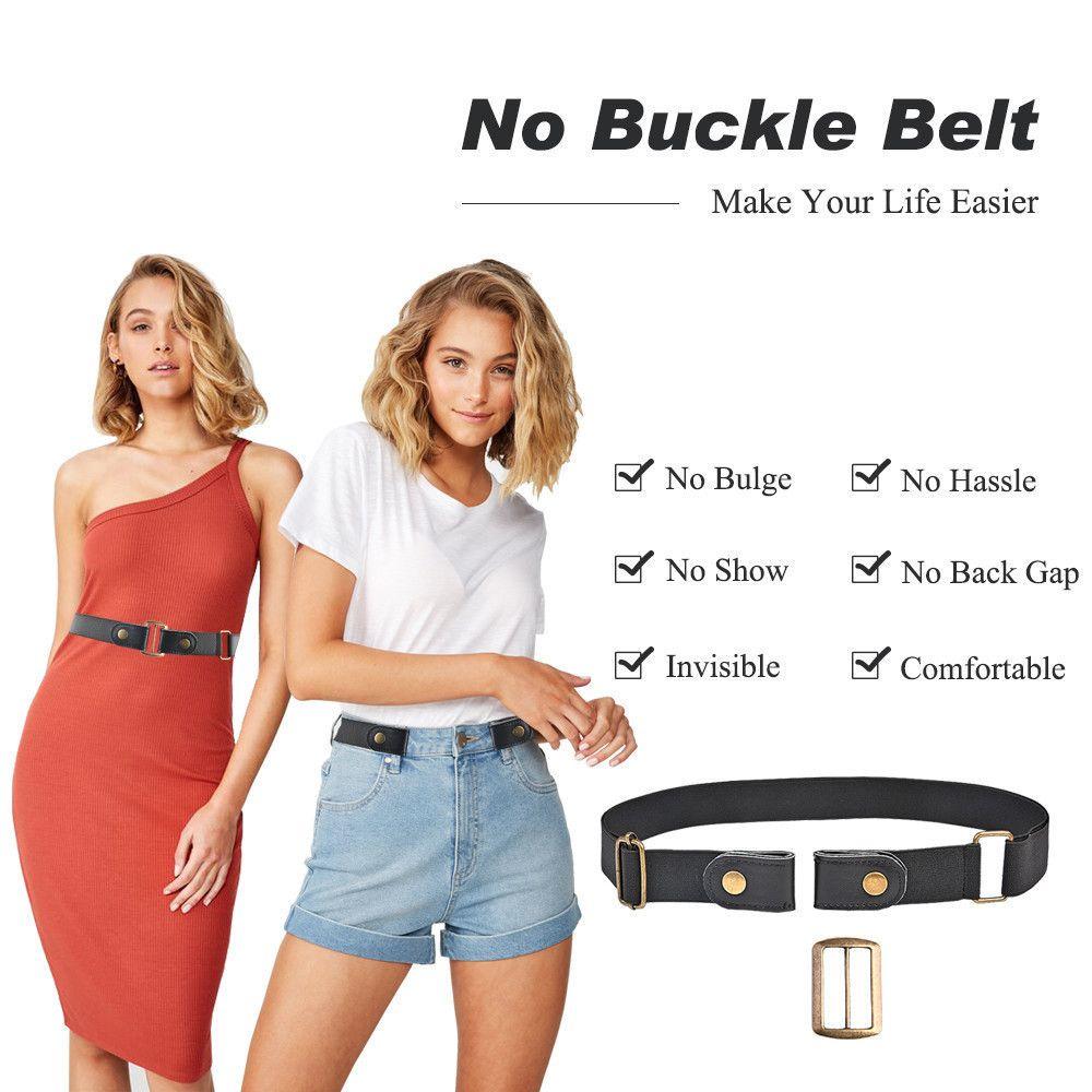 No buckle stretch belt for women men elastic belt for